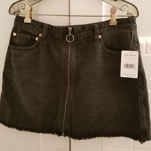 Free People black denim zip front miniskirt